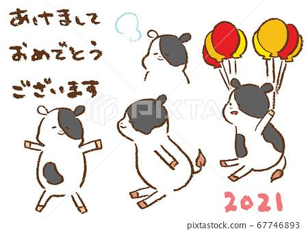 2021年新年贺卡材料蜡笔画牛插图和手写字符集 67746893