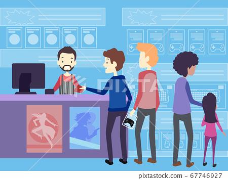 Men Game Shop Buy Illustration 67746927