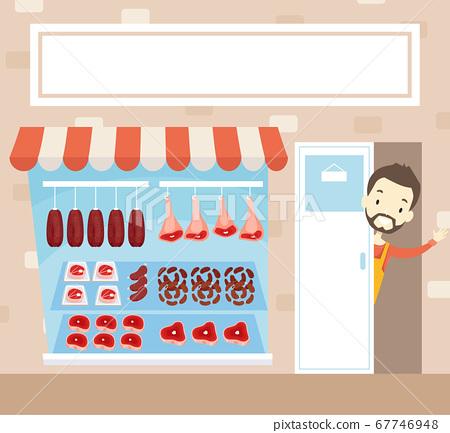 Man Meat Front Shop Waving Open Illustration 67746948