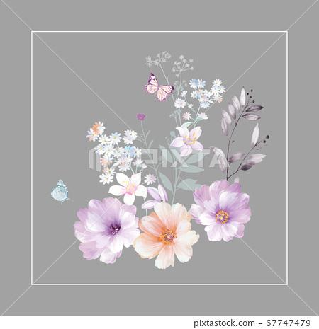 화려한 꽃 소재 조합 및 디자인 요소 67747479