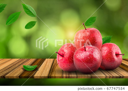 Natural farm fresh red apples on the board. 67747584