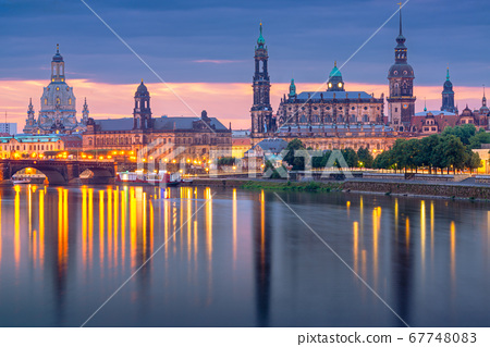 Dresden, Germany above the Elbe River 67748083