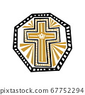 Christian illustration. Cross of Jesus Christ with graphic patterns. Radiance and rays. 67752294