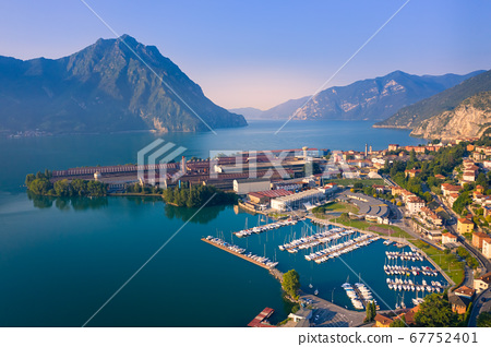 Drone view of Lake Iseo and port of Lovere at 67752401