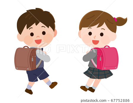 Illustration of elementary school boys and girls who are happy to carry school bags 67752886