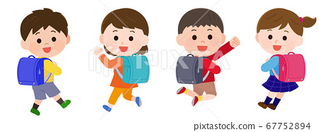 Elementary school lower grades men and women who are happy to wear a school bag Private clothes illustration 67752894