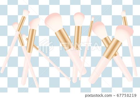 핑크 메이크업 브러쉬와 체크 무늬 배경 라스트 67758219