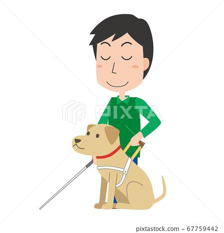 안내견과 시각 장애인의 남성 67759442