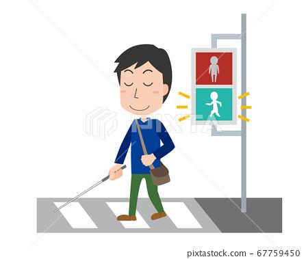 視覺障礙者穿越人行橫道 67759450