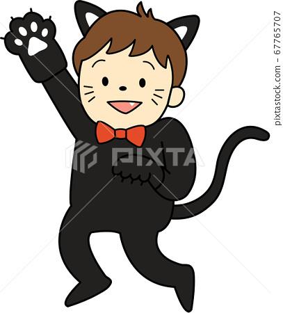 一系列为万圣节打扮的孩子(黑猫,男孩,轮廓可用) 67765707