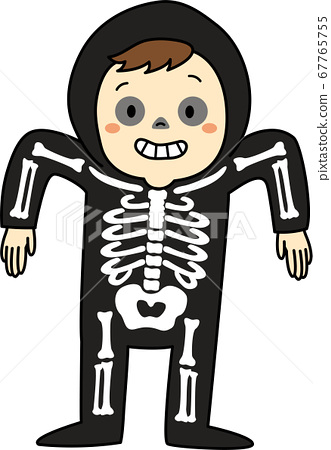 萬聖節兒童服裝(帶有骨架,男孩和輪廓) 67765755