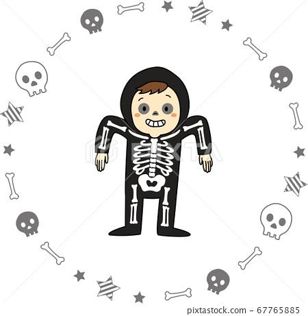 兒童萬聖節服裝(骷髏,男孩,輪廓可用)和骷髏框架 67765885
