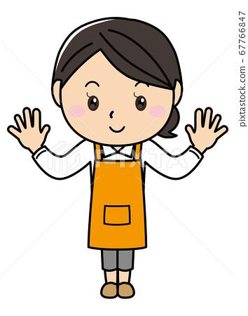 女孩01_20(在圍裙擺姿勢的微笑女性系列) 67766847