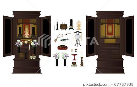 佛教祭壇矢量插圖集 67767939