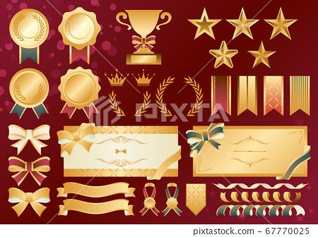 Medal ribbon star frame vintage illustration material set 67770025