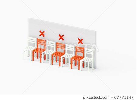 Social physical distancing concept with crossed chairs in the middle. 6 feet, 1.5 m safe distance showcase isometric as a new normal concept, 3D illustration 67771147