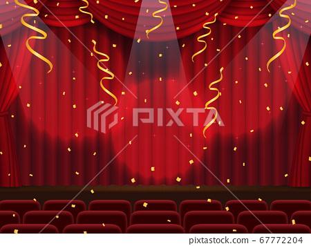 窗簾落下的舞台,五彩紙屑在聚光燈下跳舞 67772204