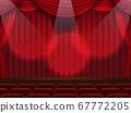 窗簾在聚光燈下落下的舞台 67772205