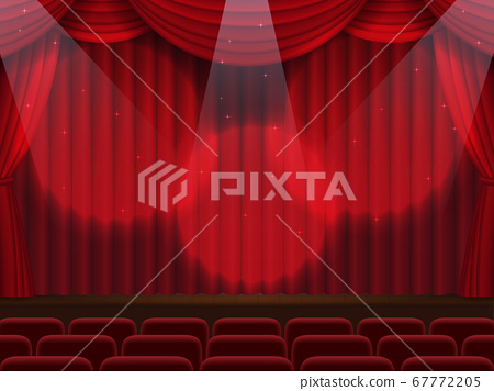 The stage where the curtain went down in the spotlight 67772205