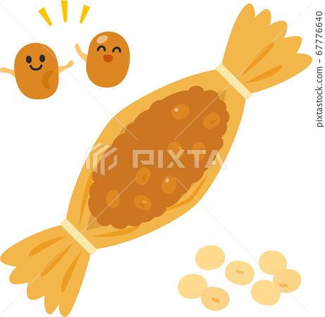 秸稈納豆和納豆字符 67776640