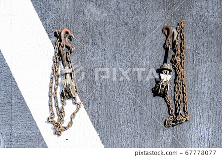 Chalks and chains use for tie down helicopter and aircraft to the flight deck of warship 67778077