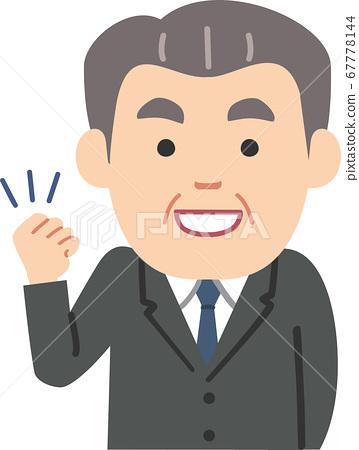 Senior man businessman in suit wearing guts pose 67778144