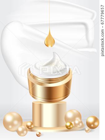 白色和金色閃光奶油海報模板圖矢量 67779657