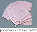 Pink t-shirt mock up flat lay on grey background 67780228