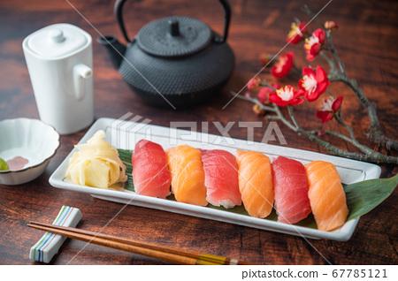 japanese nigiri sushi with plum blossom 67785121