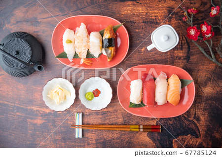 japanese nigiri sushi with plum blossom 67785124