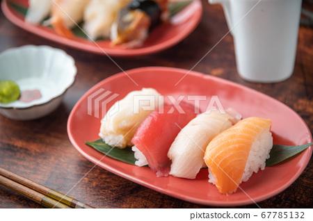 japanese nigiri sushi with plum blossom 67785132