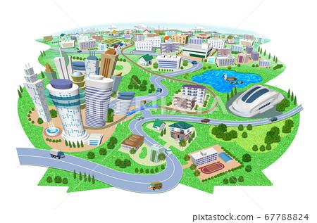 학교와 스타디움있는 주택과 건물의 거리 풍경 3D 일러스트 67788824