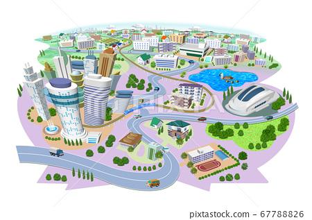 학교와 스타디움있는 주택과 건물의 거리 풍경 3D 일러스트 67788826