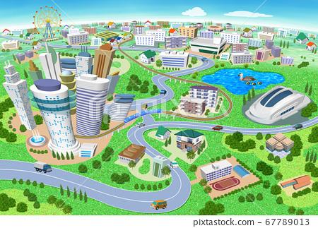 학교와 스타디움있는 주택과 건물의 거리 풍경 3D 일러스트 67789013