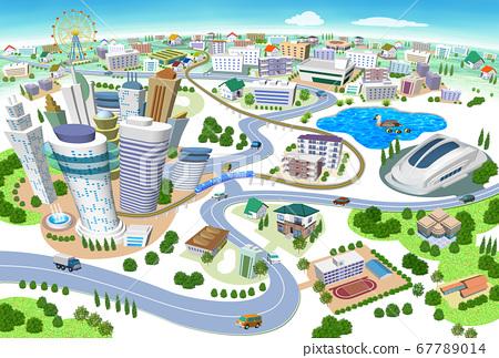 학교와 스타디움있는 주택과 건물의 거리 풍경 3D 일러스트 67789014