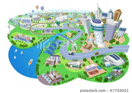 화력 발전소, 태양 광 발전, 풍력 발전이있는 주택과 건물의 거리 풍경 3D 일러스트 67789081