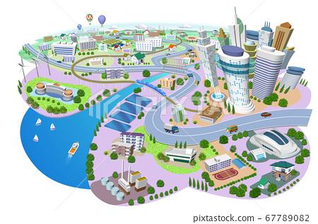 화력 발전소, 태양 광 발전, 풍력 발전이있는 주택과 건물의 거리 풍경 3D 일러스트 67789082