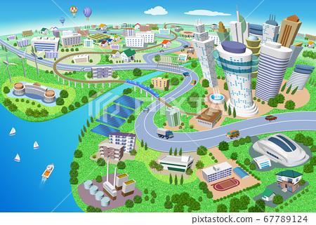 화력 발전소, 태양 광 발전, 풍력 발전이있는 주택과 건물의 거리 풍경 3D 일러스트 67789124