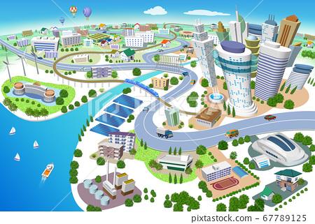화력 발전소, 태양 광 발전, 풍력 발전이있는 주택과 건물의 거리 풍경 3D 일러스트 67789125