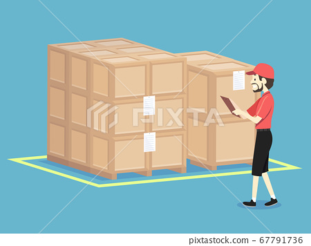 Man Check Warehouse Crates Illustration 67791736