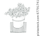 A stylish illustration drawn with a line drawing Small flowers in pot plants 67791741
