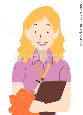 Girl Cheerleading Coach Clipboard Illustration 67791769