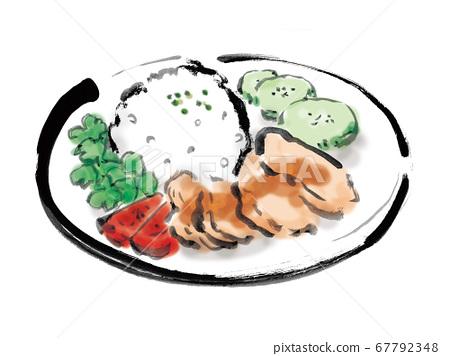 手繪插圖的東南亞普通食品海南雞飯 67792348