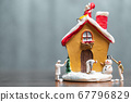 Miniature people painting house and Santa Claus 67796829
