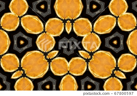 Yellow Black Kaleidoscope Pattern for background 67800597