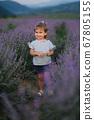 Adorable little girl walking in lavender field after sunset. Blue or purple lavender. Happy kid smile 67805155