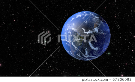 The rotation of the planet Earth. 3D rendering 67806092
