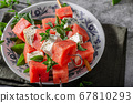 Delicious spicy skewers with watermelon 67810293