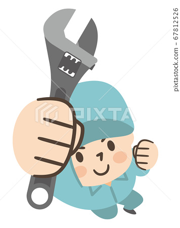 Male worker with monkey wrench 67812526