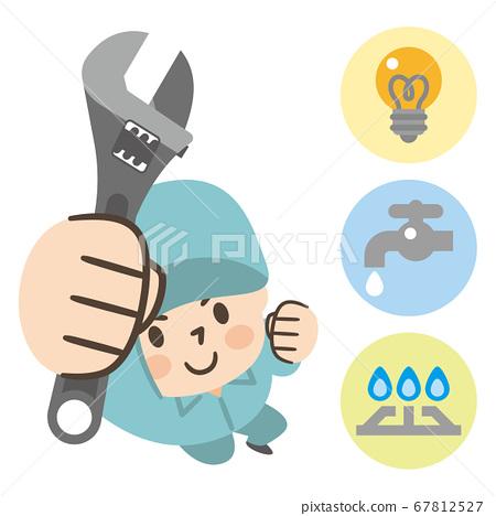 電力,煤氣和水的維修工的人 67812527